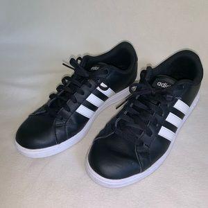Black w white stripes Adidas tennis shoes size 7